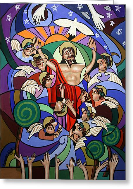 Ascending To The Father  Greeting Card by Anthony Falbo