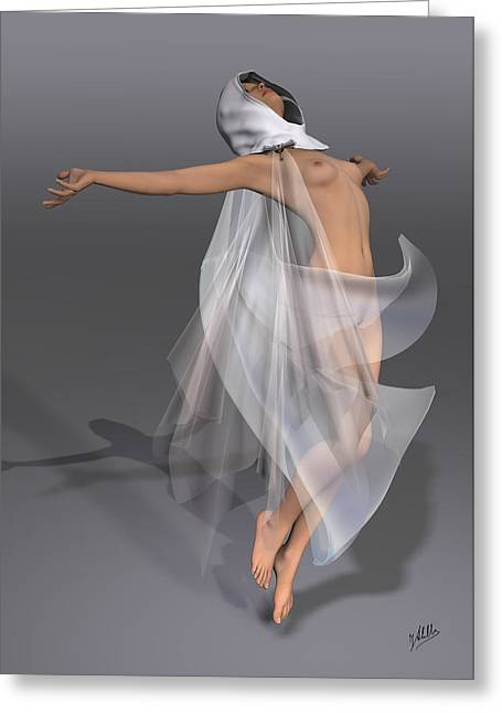 Veiled Mixed Media Greeting Cards - Ascension By Quim Abella Greeting Card by Joaquin Abella