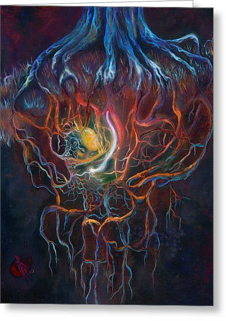 Web Of Life Paintings Greeting Cards - Ascension of the Soul Part I Greeting Card by Kd Neeley