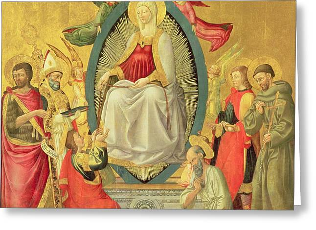 Francis Greeting Cards - Ascension Of The Virgin, 1465 Egg Tempera And Gold On Panel Greeting Card by Neri di Bicci