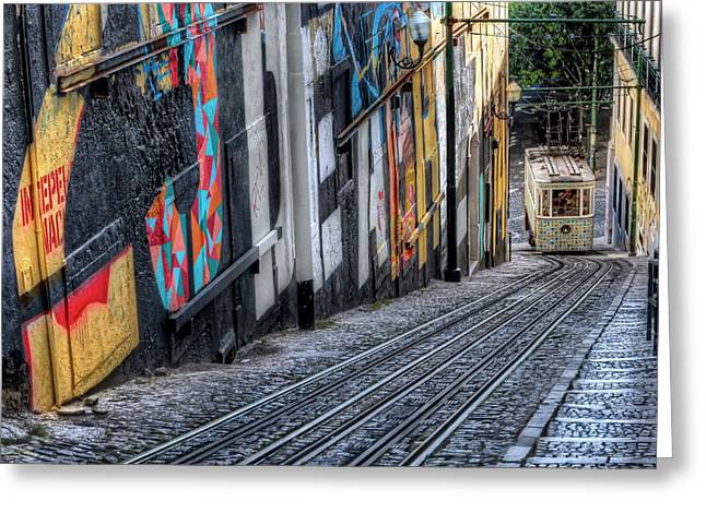 Historic Architecture Greeting Cards - Ascensor Do Lavra Lisbon Greeting Card by Carol Japp