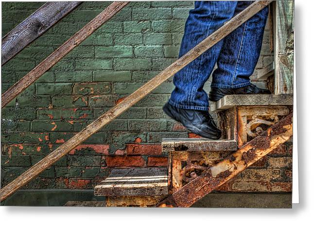 Wooden Stairs Greeting Cards - Ascent Greeting Card by Nikolyn McDonald
