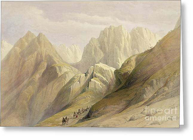Mountain Climbing Greeting Cards - Ascent of the Lower Range of Sinai Greeting Card by David Roberts