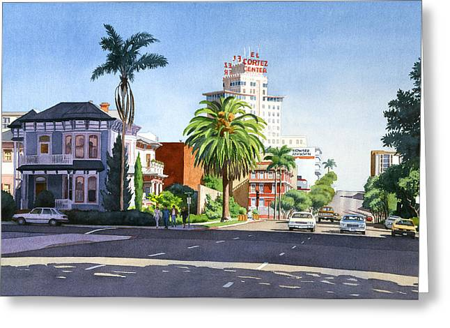 Scape Greeting Cards - Ash and Second Avenue in San Diego Greeting Card by Mary Helmreich