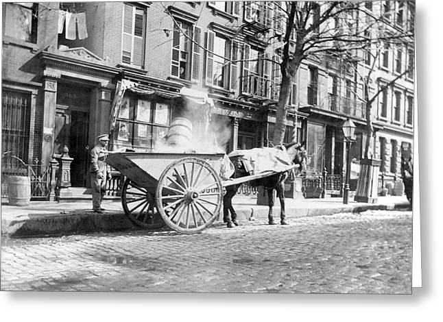 Horse And Cart Greeting Cards - Ash Cart New York City 1896 Greeting Card by Unknown