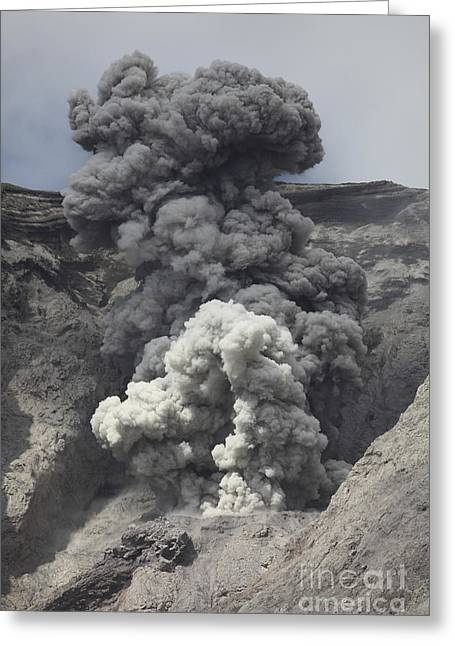 Vulcanology Greeting Cards - Ash Cloud Rises From Crater Of Batu Greeting Card by Richard Roscoe