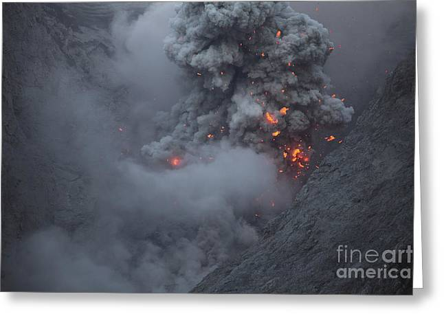 Vulcanology Greeting Cards - Ash Cloud Rising During Strombolian Greeting Card by Richard Roscoe