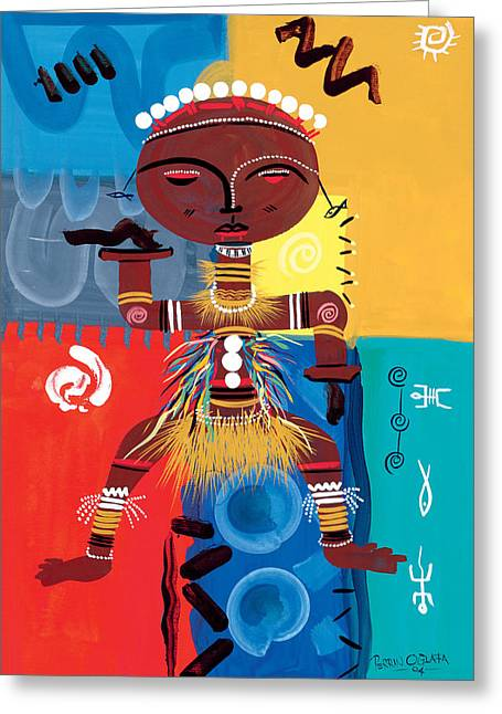 Tribal Greeting Cards - Ashanti Greeting Card by Oglafa Ebitari Perrin