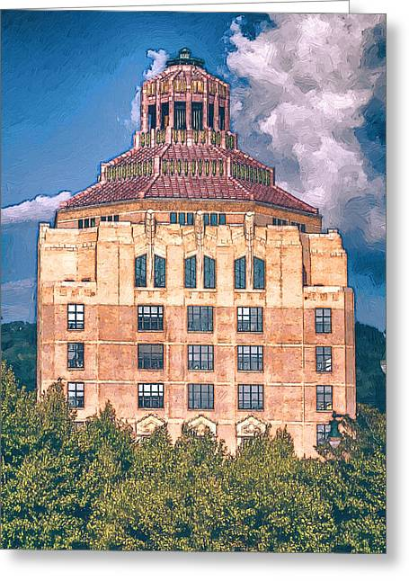 Western North Carolina Greeting Cards - Asheville City Building Greeting Card by John Haldane