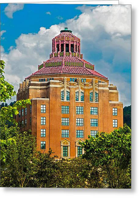 Grand Memories Greeting Cards - Asheville City Hall Greeting Card by John Haldane