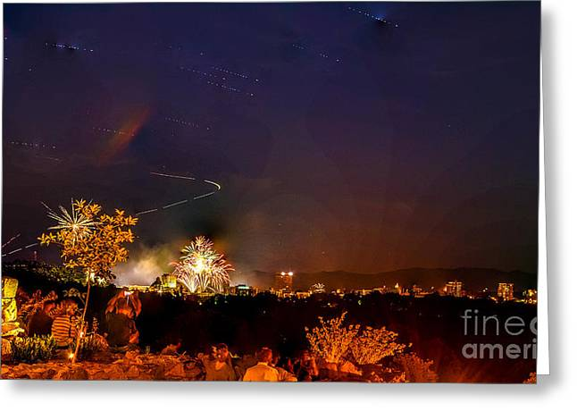 Grove Park Inn Greeting Cards - Asheville Fireworks Greeting Card by Ryan Phillips