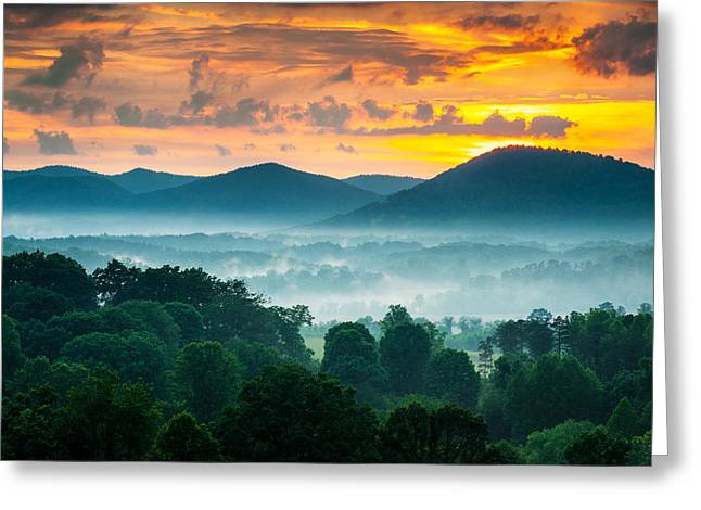 Foggy. Mist Greeting Cards - Asheville NC Blue Ridge Mountains Sunset - Welcome to Asheville Greeting Card by Dave Allen