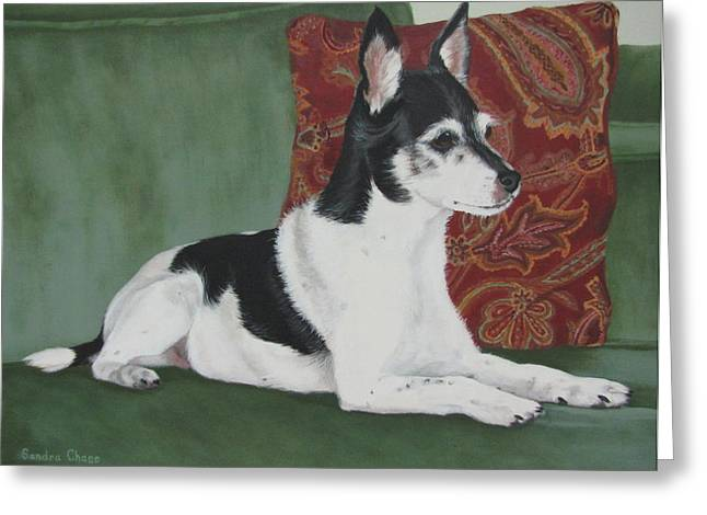 Sandra Chase Paintings Greeting Cards - Ashley On Her Sofa Greeting Card by Sandra Chase