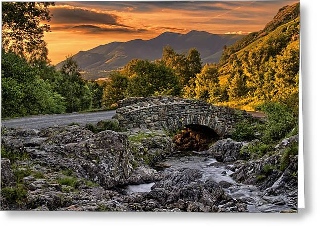 Packhorse Greeting Cards - Ashness Bridge Greeting Card by Roger Green