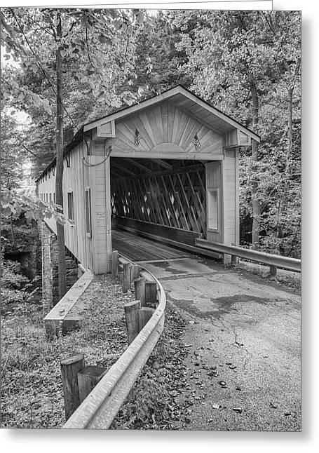 Covered Bridge Greeting Cards - Ashtabula Collection - Warner Hollow Bridge  7K02090 Greeting Card by Guy Whiteley
