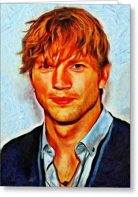 Lucent Dreaming Greeting Cards - Ashton Kutcher Greeting Card by Nikola Durdevic