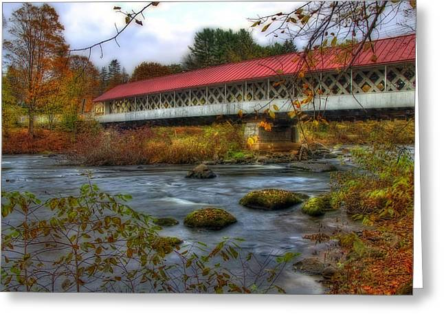 Old North Bridge Greeting Cards - Ashuelot Covered Bridge 2 Greeting Card by Joann Vitali