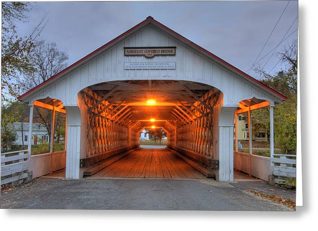 Old North Bridge Greeting Cards - Ashuelot Covered Bridge Greeting Card by Joann Vitali