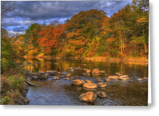 Fall Scenes Greeting Cards - Ashuelot River in Autumn - New Hampshire Greeting Card by Joann Vitali
