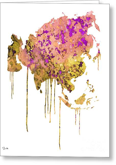 Continent Paintings Greeting Cards - Asia Greeting Card by Luke and Slavi