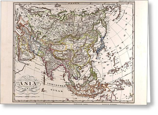 Asia Map Gotha Justus Perthes 1872 Atlas Greeting Card by English School