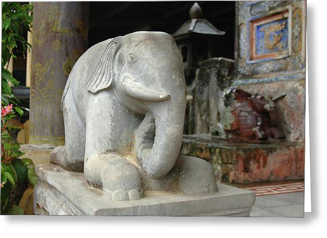 Asia, Vietnam Carved Stone Elephant Greeting Card by Kevin Oke