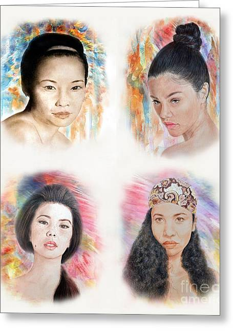 Beauty Mark Mixed Media Greeting Cards - Asian Beauties  Greeting Card by Jim Fitzpatrick
