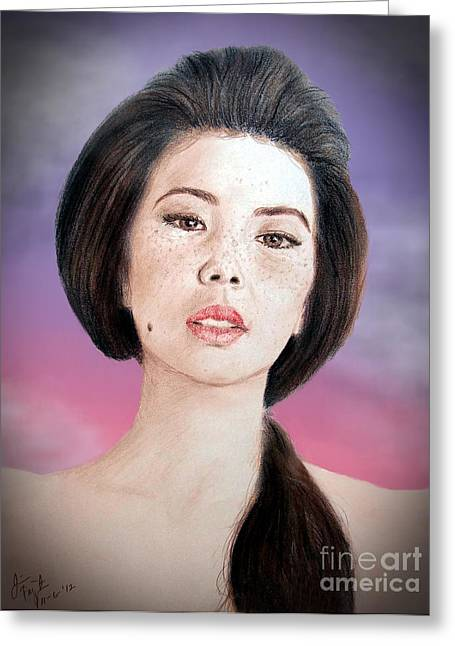 Beauty Mark Mixed Media Greeting Cards - Asian Beauty Fade to Black Version Greeting Card by Jim Fitzpatrick