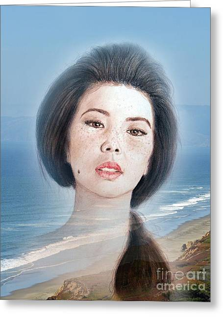 Facial Mole Greeting Cards - Asian Beauty Fade to Ocean Photograph Greeting Card by Jim Fitzpatrick