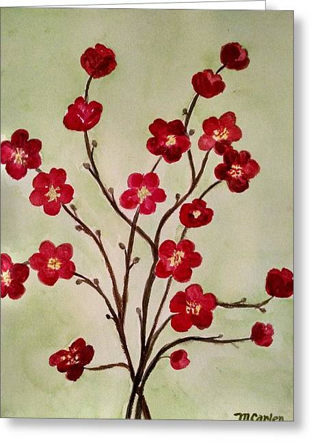 Cherry Blossoms Paintings Greeting Cards - Asian Blossoms Greeting Card by M Carlen