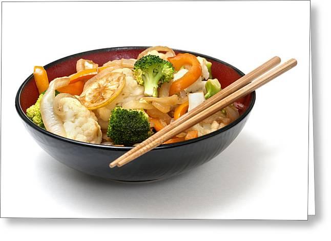 Broccoli Greeting Cards - Asian Cauliflower Broccoli Stir Fry Greeting Card by Donald  Erickson