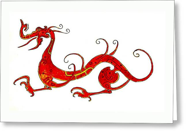 Chinese Greeting Cards - Asian Dragon Greeting Card by Michael Vigliotti