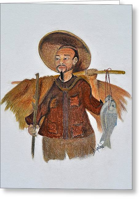 Fishermen Pastels Greeting Cards - Asian Fisherman Greeting Card by Danae McKillop