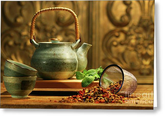 Mat Greeting Cards - Asian herb tea Greeting Card by Sandra Cunningham