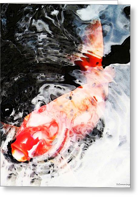 Asian Koi Fish - Black White And Red Greeting Card by Sharon Cummings
