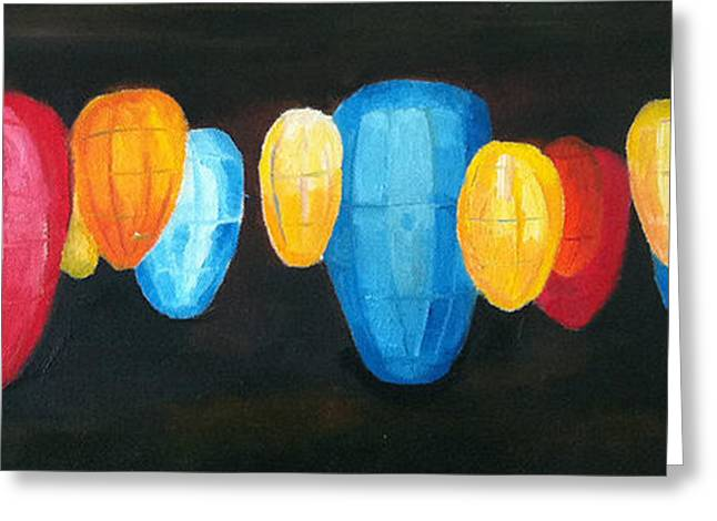 Abstract Expression Greeting Cards - Asian Lanterns Greeting Card by Sarah Matthews