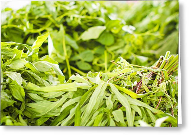asian market vegetable Greeting Card by Tuimages