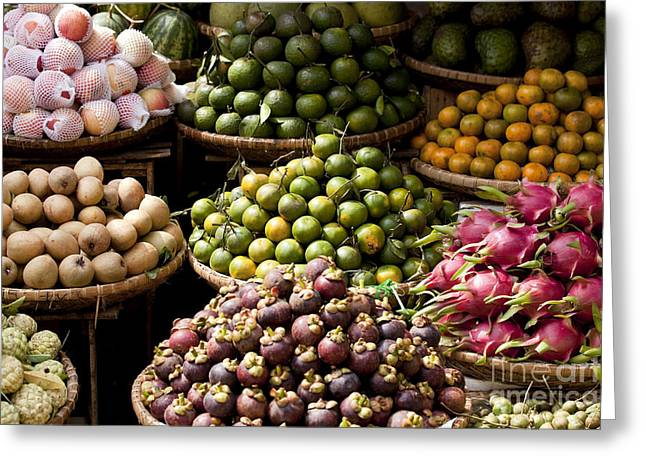 Mangosteen Greeting Cards - Asian Market Vietnam Greeting Card by Kevin Miller