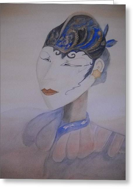 Gold Earrings Greeting Cards - Asian Mask Greeting Card by Marian Hebert