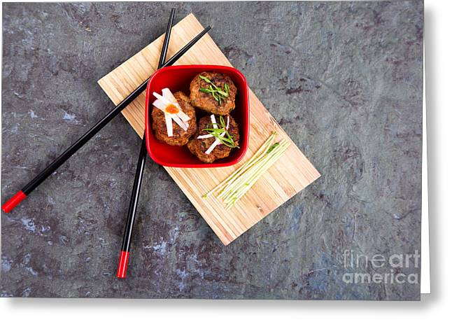 Chilli Greeting Cards - Asian meatballs 1 Greeting Card by Jane Rix