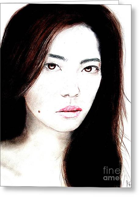 Beauty Mark Drawings Greeting Cards - Asian Model II Greeting Card by Jim Fitzpatrick