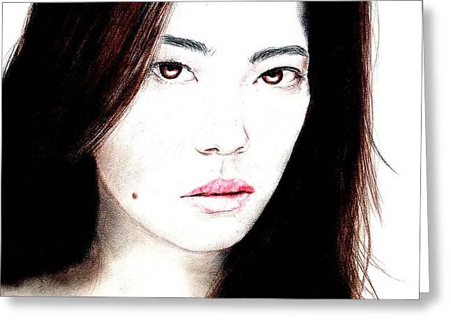 Asian Model II Greeting Card by Jim Fitzpatrick