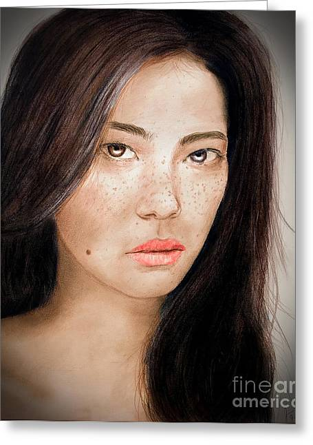 Facial Mole Mixed Media Greeting Cards - Asian Model with Freckles Fade to Black Greeting Card by Jim Fitzpatrick