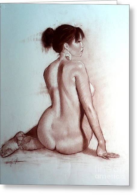 Tasteful Art Pastels Greeting Cards - Asian Pear Nude Greeting Card by Doyle Shaw