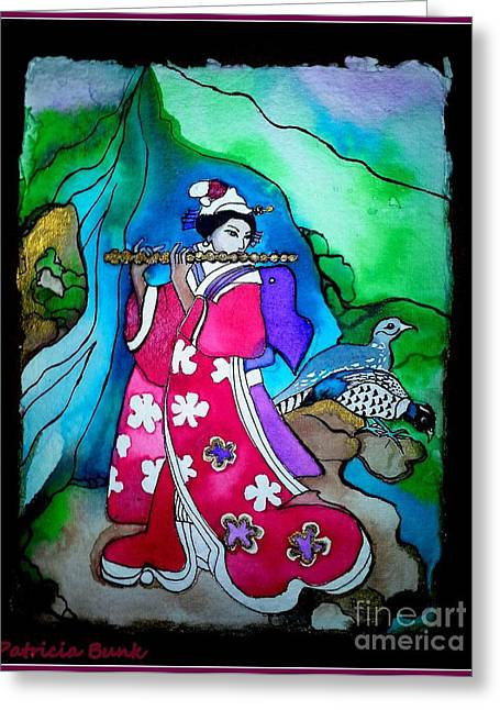 Royalty Mixed Media Greeting Cards - Asian sounds of  the Wind Greeting Card by Patricia Bunk