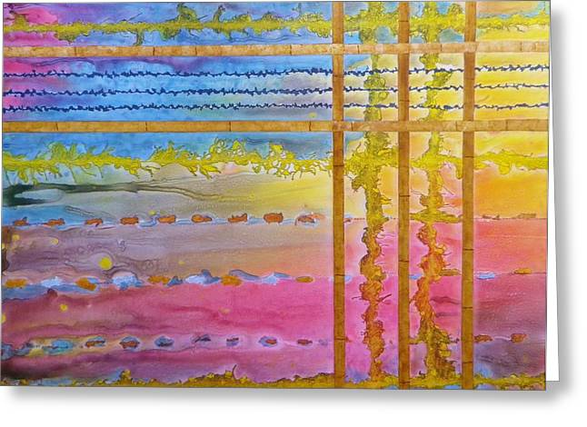 Representative Abstract Mixed Media Greeting Cards - Asian Sunrise Greeting Card by David Raderstorf