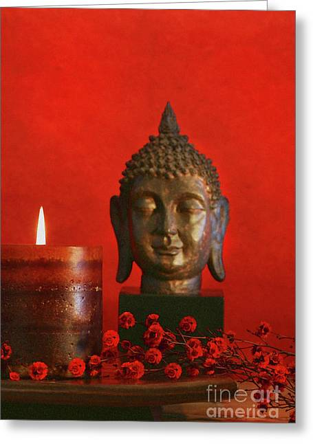 Asian Theme With Candle  Greeting Card by Sandra Cunningham