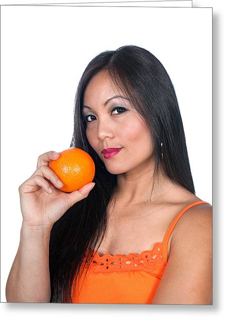 White Flannels Greeting Cards - Asian woman and orange Greeting Card by Joe Belanger