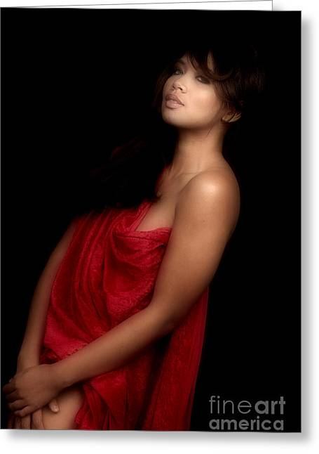 Female Nude Greeting Cards - Asian woman in Red  Greeting Card by Kendree Miller