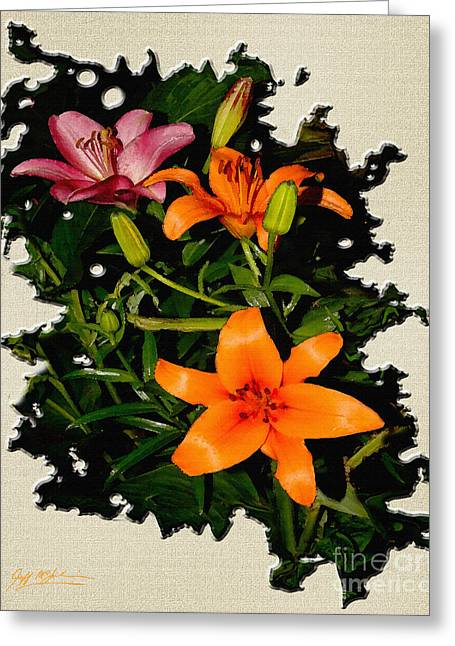 Fractal Orbs Greeting Cards - Asiatic Lilies Orange Greeting Card by Jeff McJunkin